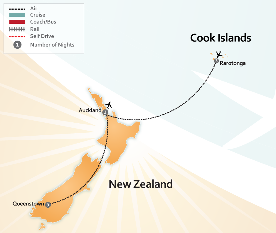 Rarotonga Auckland and Queenstown South Pacific Vacation Map