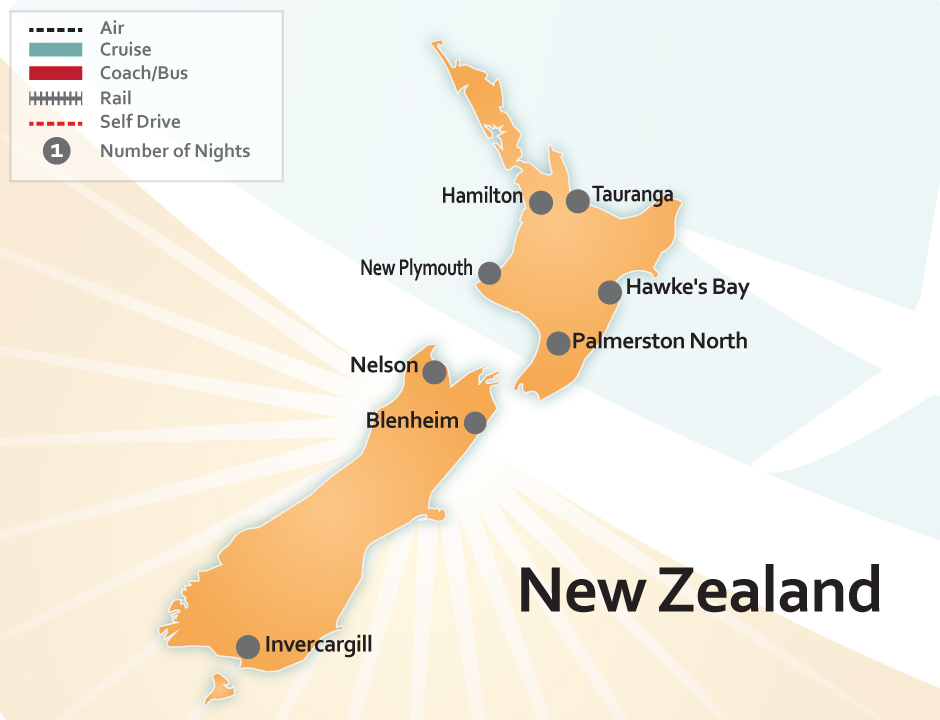 Map of New Zealand's Domestic Airports