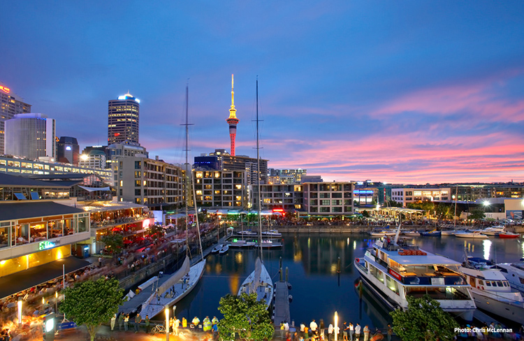 Sunset at Viaduct Harbour credit Chris McLennan