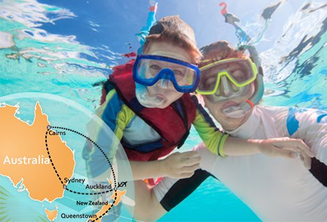 New Zealand & Great Barrier Reef Vacation with the Family Kids Fly 1/2 Price