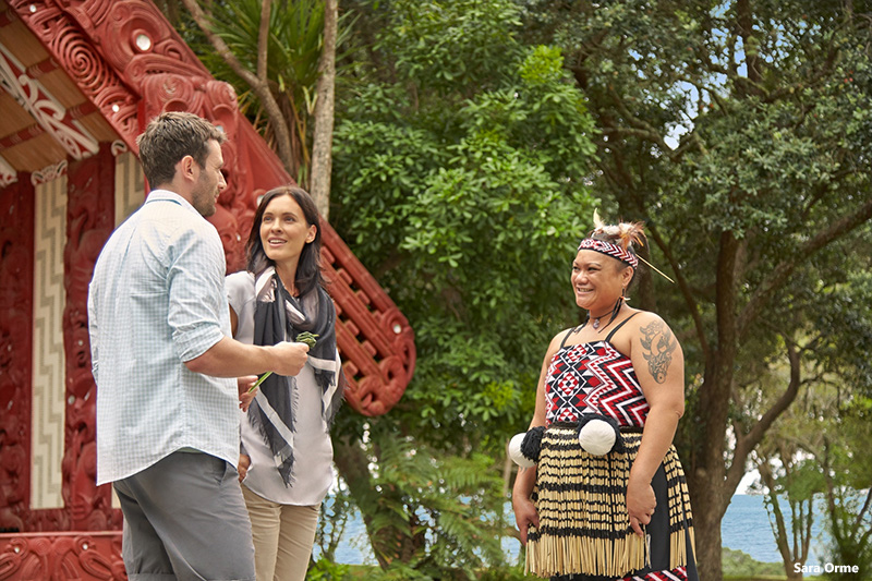 Couple with Maori woman in Waitangi, Northland, New Zealand credit Sara Orme