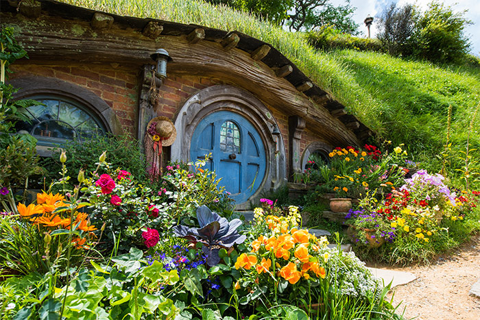 Blue Hobbit Hole door in Hobbiton