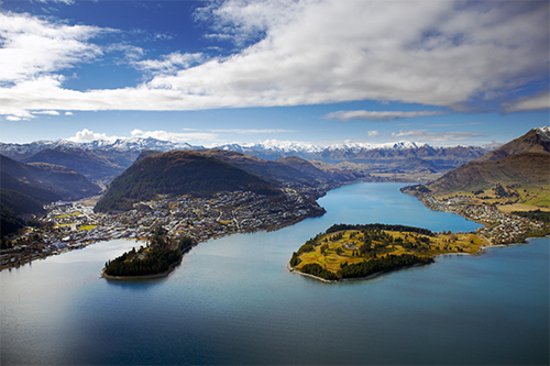 View of Frankton, Queenstown from Cecil Peak in New Zealand