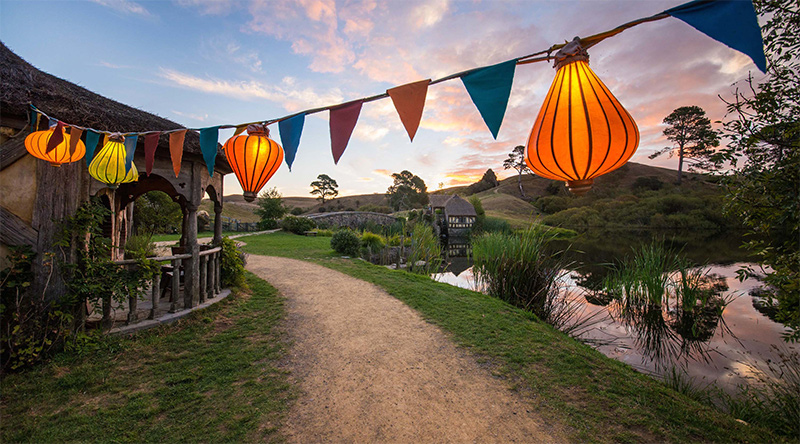 Lanterns hanging above the Shire in Hobbiton