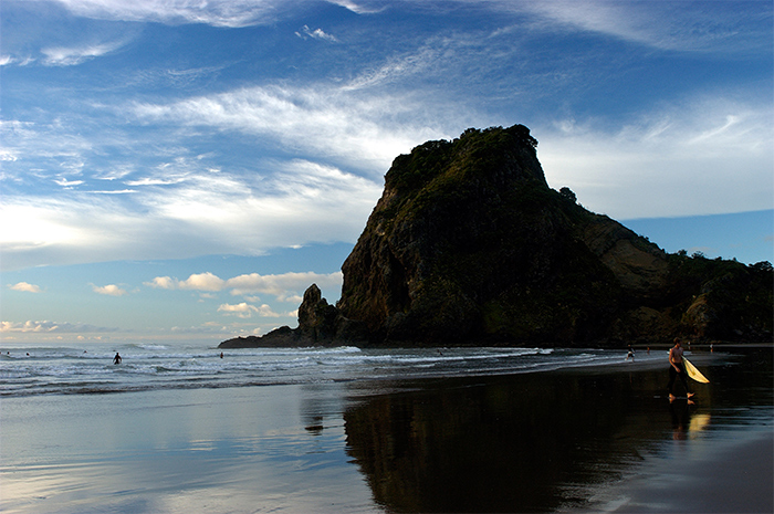 Black sands of Piha Beach, Auckland. Photo Credit: Scott Venning