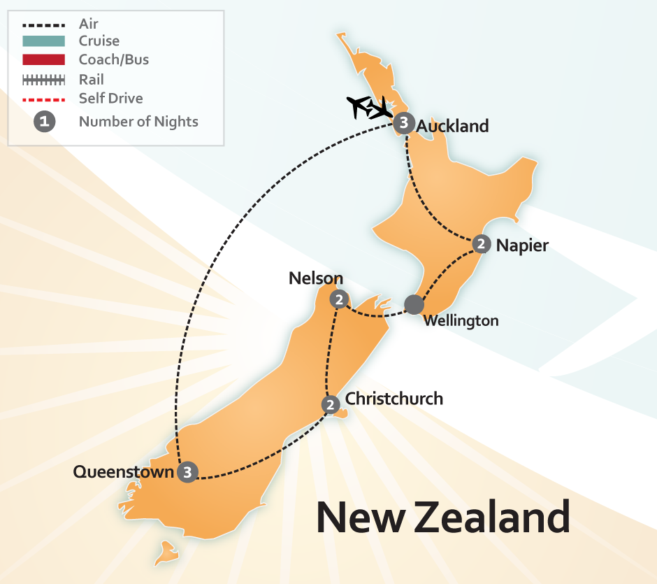 Map of New Zealand Wine Tour