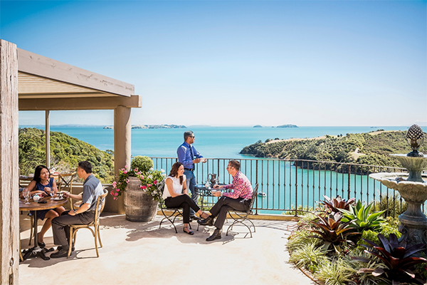 People enjoying food and wine on Waiheke Island
