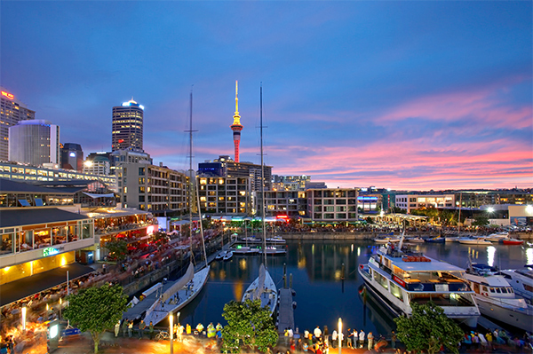 Viaduct Harbour by sunset Auckland