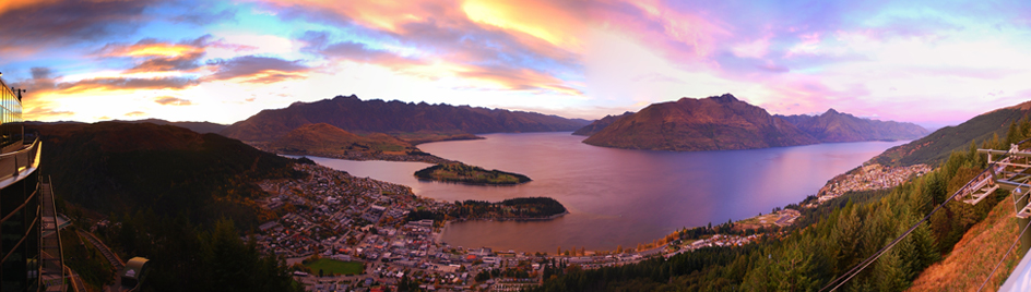 Queenstown sunrise credit Skyline Queenstown